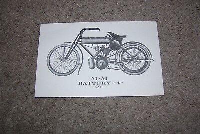 M.M. Battery 4 Motorcycle Postcard American Motor Co. Brockton MA