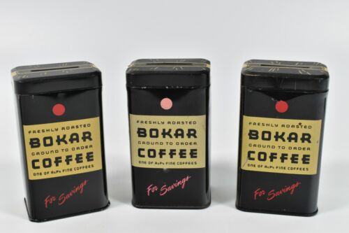 Lot of 3 Vintage Bokar Coffee Tin Coin Bank Advertising A&P Fine Kitchen Roasted