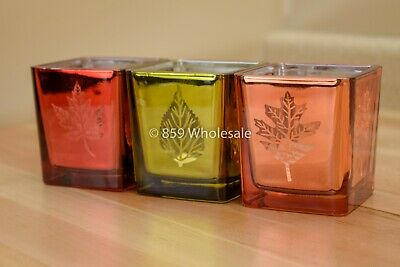 Yankee Candle SQUARE GLASS LEAVES TEA LIGHT CANDLE HOLDERS (SET OF 3) 1567007 D3