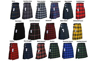 Men's 5 Yard Scottish Kilts Tartan Kilt 13 oz Highland Casual Kilt 22 Tartans