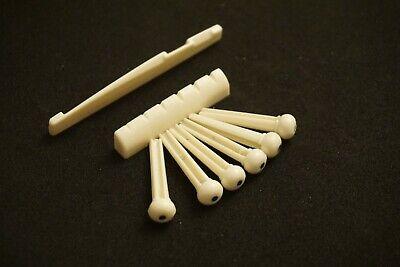 New 6 pcs Acoustic Guitar Bridge Pins + Nut + Saddle Ivory Color, US Seller