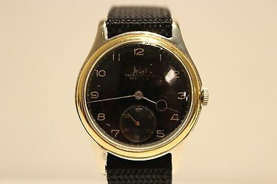 Vintage Rare Ww2 Military Sub Second Swiss Mens Watch  Felco  15 J Black Dial