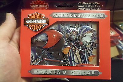 2 Decks of Bicycle Playing Cards Harley Davidson Collectors Tin