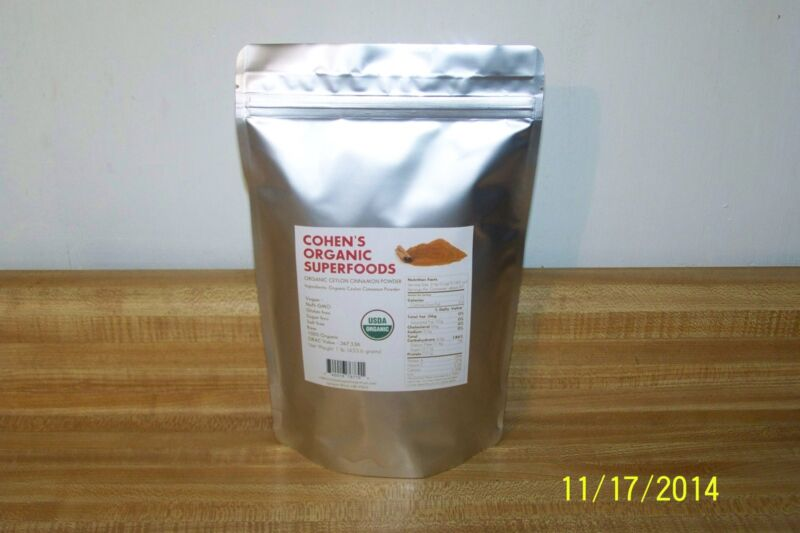 100% USDA  Organic Ceylon Cinnamon Ground Powder   1  lb