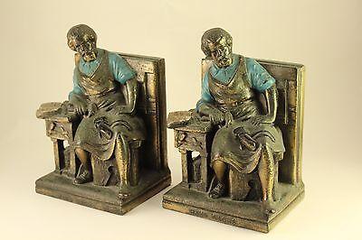 Vtg Rare Hans Sachs German Meistersinger Shoemaker Poet Metal Bookends K&O c1930