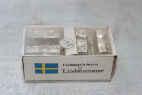 Vintage Scandinavian Lindshammar Swedish Crystal Glass Knife rest name place set