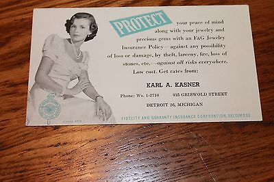 Vintage Advertising Ink Blotter Fidelity And Guaranty Insurance Corp  Baltimore
