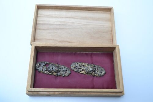Ezo Menuki antique Japanese sword kodogu Mumei made of brass at Muromachi FedEx