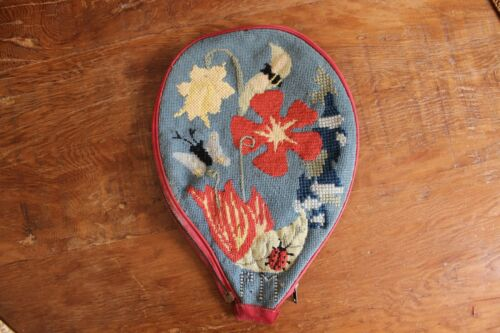 Vintage Embroidered Needlepoint Tennis Raquet Cover Flowers Butterfly Lady Bug