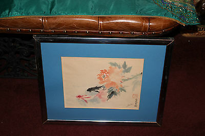 Chinese Asian Water Color Painting-Koi Gold Fish Swimming-Flowers-Signed & Stamp