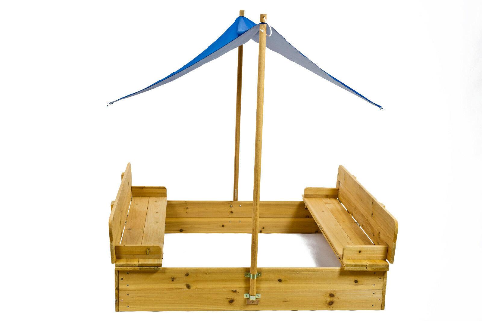 VABIONO Sandkasten mit Deckel Sitzbank Sonnensegel Dach Spielhaus Sandbox