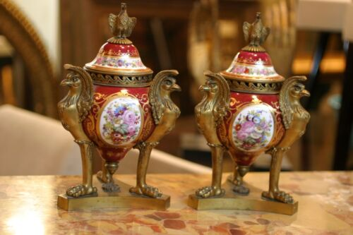 PAIR OF  FRENCH  SEVRES HAND PAINTED PORC. URNS, GILDED BRONZE EAGLES , 19C.