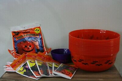 Large Halloween Party Lot Candy Bowls Treat Bags Lawn Leaf Bags Read for Info