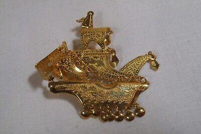 Asian Dog Costume (Vintage Gold Plated Asian Sailing Ship w/Dragon, Foo Dog Pendant 1.75