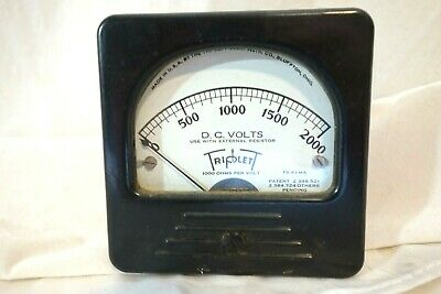 Triplett Meter D.c Volts 0-2000v Panel Meter 1940s Deco Styling