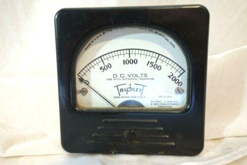 Triplett Meter D.C Volts 0-2000v Panel Meter 1940