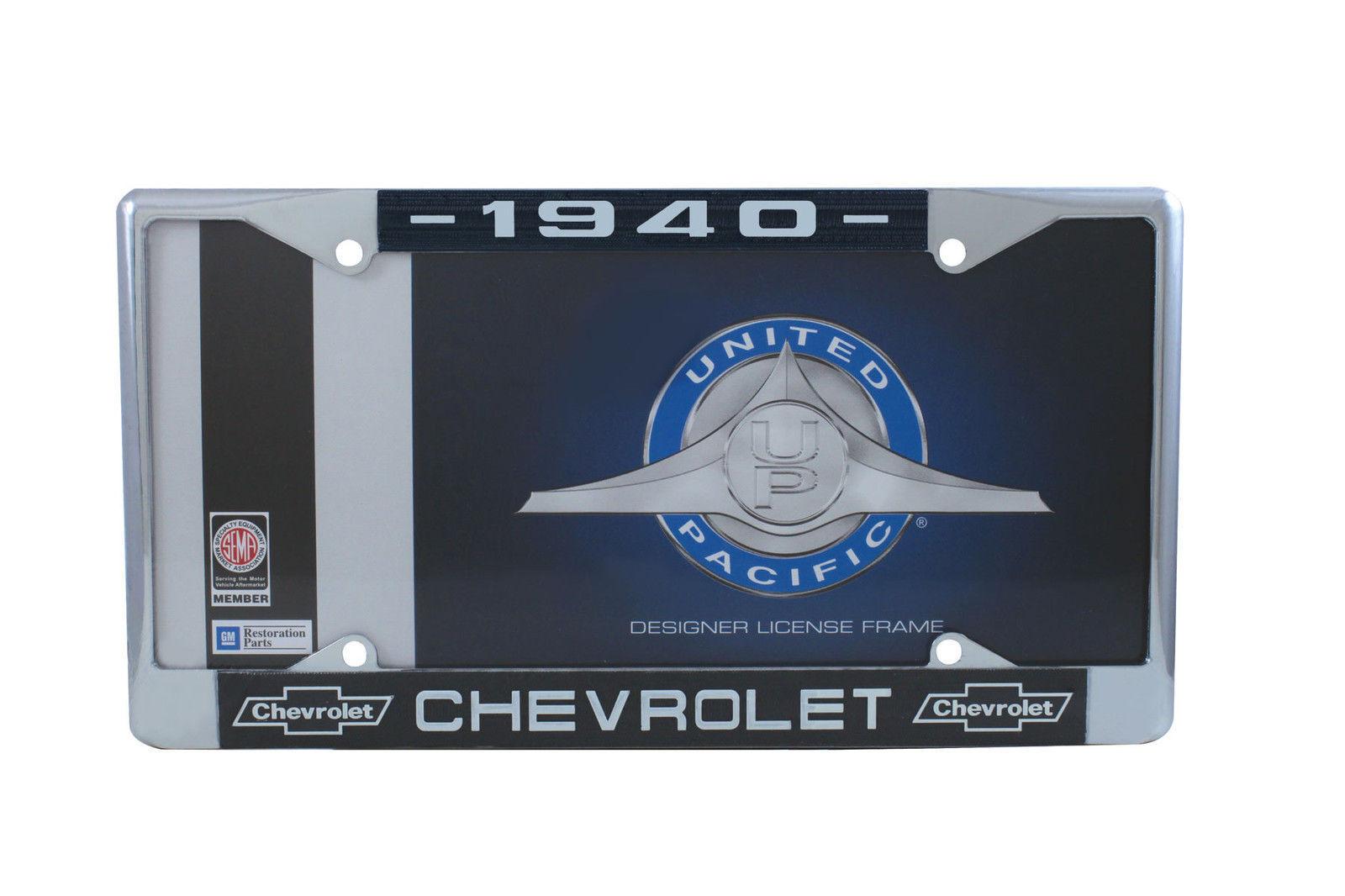 NEW PAIR 1940 CHEVROLET METAL LICENSE PLATE FRAME CAR OR TRUCK GM LICENSED