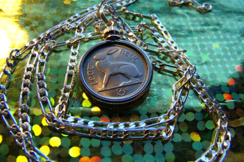 "1966 IRISH 3 Pence LUCKY RABBIT COIN PENDANT on a 30"" 925 STERLING SILVER Chain"