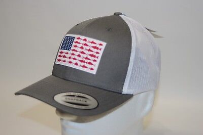 1241c042eab Columbia PFG Fish Flag Mesh Snap Back Ball Cap in Grey OSFA