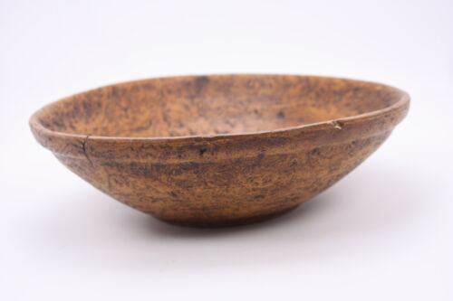 """Primitive Burl Style Country Farm House Vtg Antique SYNTHETIC Wood Look 9"""" Bowl"""
