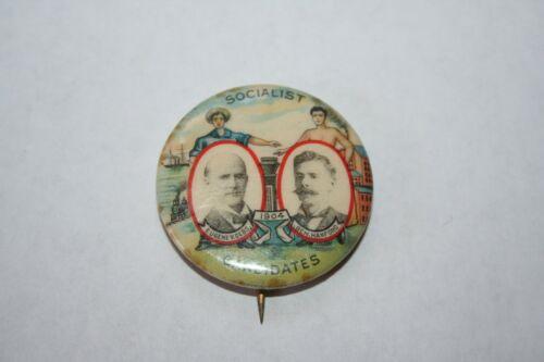 RARE 1904 EUGENE V DEBS BEN HANFORD FOR PRESIDENT SOCIALIST PARTY POLITICAL PIN