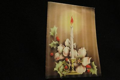 Vintage Art Deco Holly & Candle Christmas Card 1920s