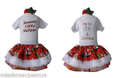 Christmas Santa Little Helper XMAS Tutu 80s Fancy Dress White Sparkle Baby - Baby Little Santa Kostüm