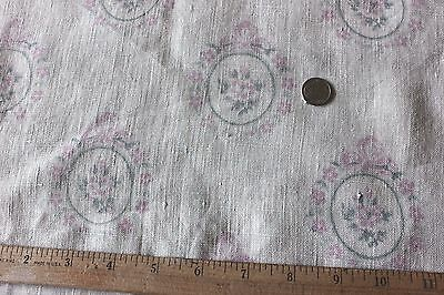 """Antique French Pink Roses & Bows Home Decor Linen Fabric c1910~3ydsL X 36""""W"""