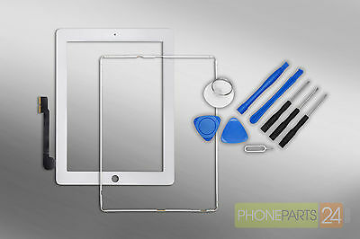 iPad 3 / 4 Digitizer Touchscreen Display Front Glas + Rahmen + Home Button weiss ()