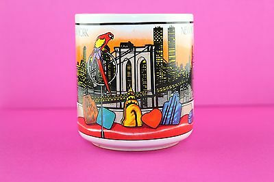 80's New York Apartment View Coffee Cup Mug Twin Towers Brooklyn Bridge Parrot