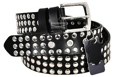 Men's Leather Belts studded 100% Cowhide Strong Punk Classic Casual Style 625