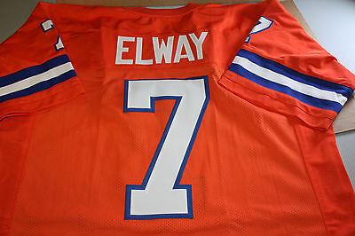 John Elway  7 Sewn Stitched Throwback Jersey Size Large Orange Super Bowl Mvp