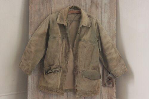 Jacket Vintage French work wear coat military TIMEWORN faded khaki w/ zipper