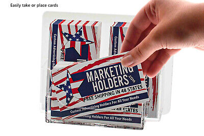 Business Card Holder 3 Pocket Clear 2 Vertical 1 Horizontal Wall Mount Qty 24
