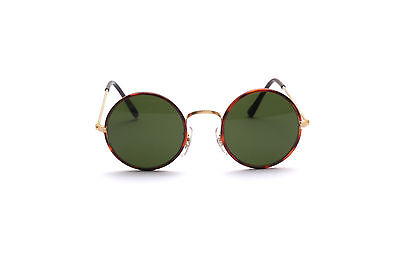 Classic round gold brown sunglasses with green lenses, 42mm Made in ITALY