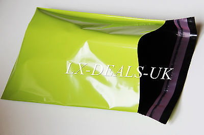25 neon green poly postal packaging mailing bags 10x14 250x350mm peal & SEAL