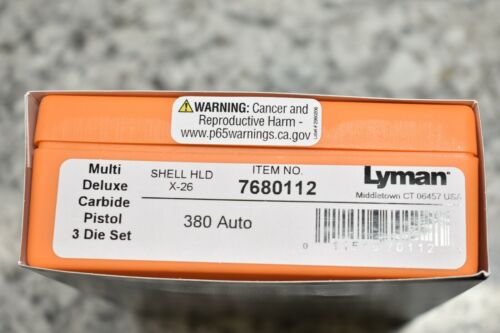 NEW Lyman Multi-Deluxe .380 Auto Carbide Die Set #7680112 FREE SHIPPING