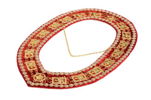 MASONIC SHRINER RHINESTONES AROUND CHAIN COLLAR GOLDEN ON RED VELVET