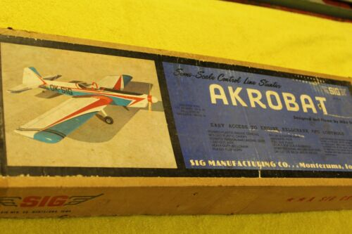 "Sig Mfg, Akrobat, Vintage Control line Balsa Kit, Rare! 51"""