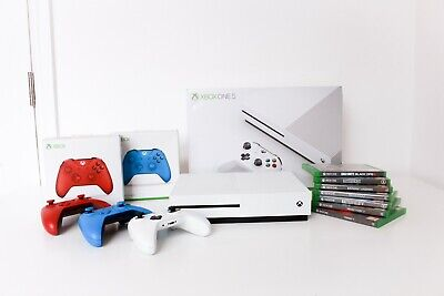 Microsoft Xbox One S 1TB White Console with 3 Controllers + 7 Games