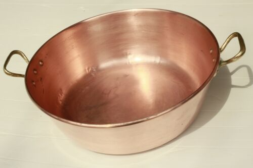 Vintage French Copper Jam Pan w Rounded Rim Bronze Handles 4lbs 15.2inch