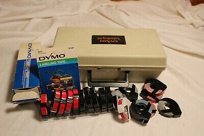 Vintage Dymo Typewriter 1550 1570 Label Maker Case 2 Extra Wheels 19 Tapes