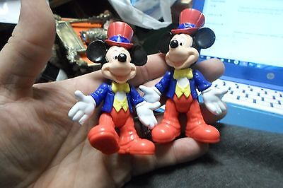 2 Vintage Mickey Mouse Disney World Epcot Figure Top Hat Playtic China HK 02