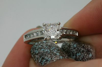 2CT SOLITAIRE ENGAGEMENT BRILLIANT PRINCESS CUT RING SOLID 14K WHITE   GOLD
