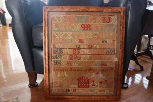 Large Framed 1851 Sampler. Rush Township. Susquahanna, Pennsylvania