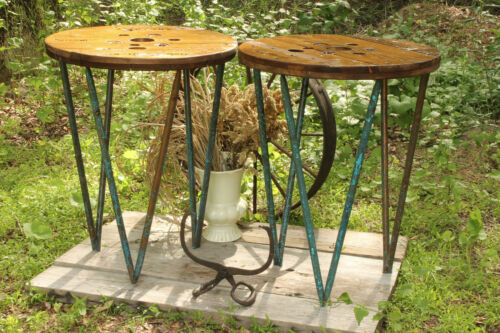 Artisan Hand Crafted Industrial Table Set with Hairpin Style Copper Legs