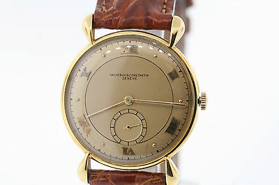 Vintage Vacheron Constantin 18k Gold Fancy Tear Drop Lug Crocodile Band Watch