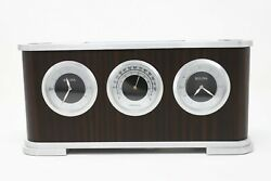 Bulova Watch-B5005 Woodside Executive desk clock with Thermometer-New batteries