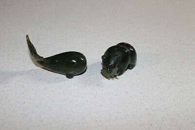 Excellent Miniature Carved Green Jade Bear With Fish & Whale Nice Condition