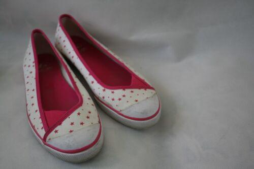 BUM Equipment White Pink Stars Fabric Ballet Flats Women